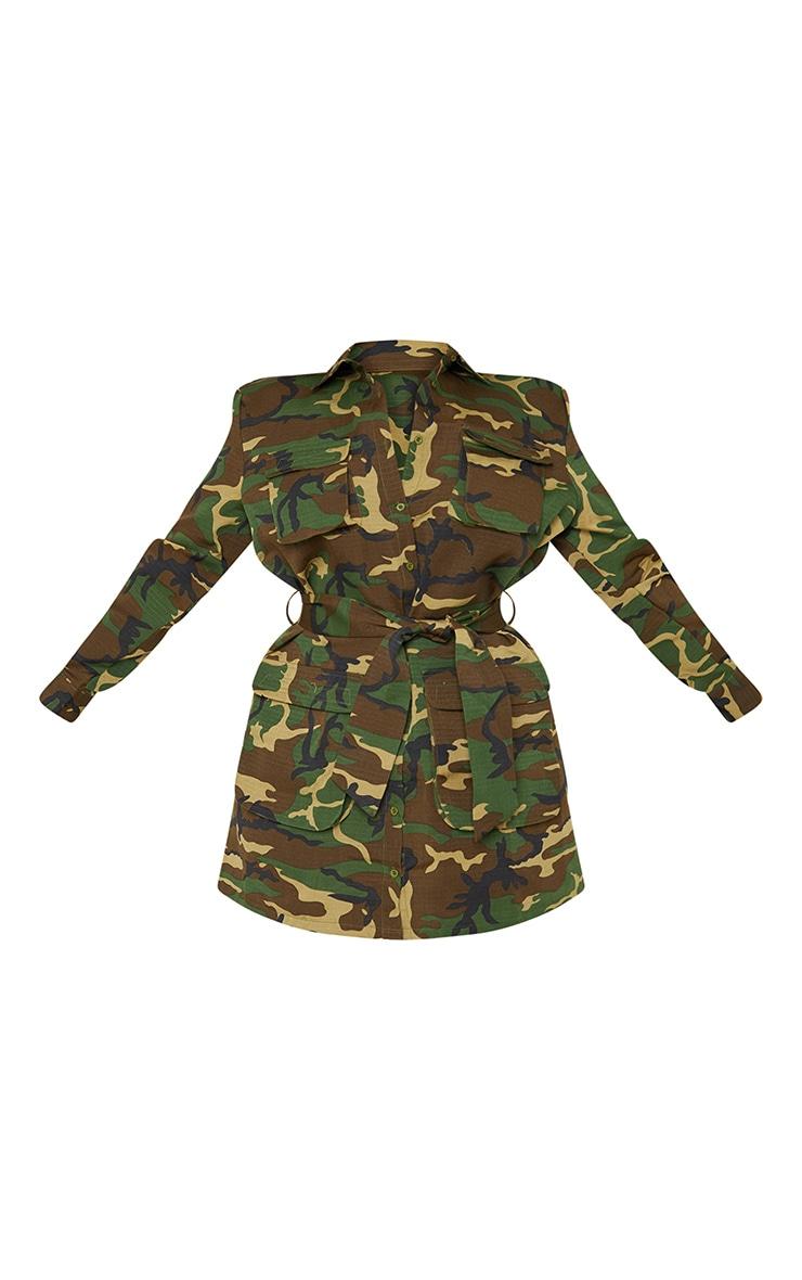 Plus Camo Utility Tie Waist Shirt Dress 3