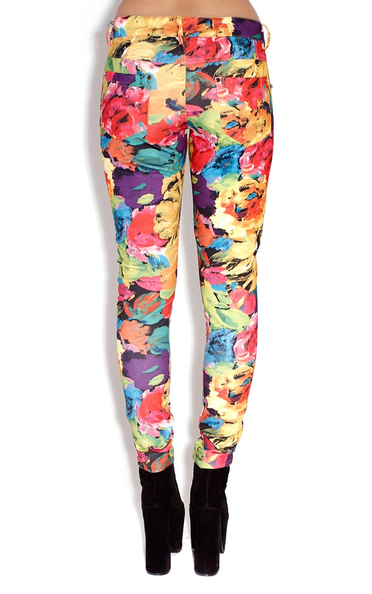 Poppy Floral Cotton Skinny Trousers  2