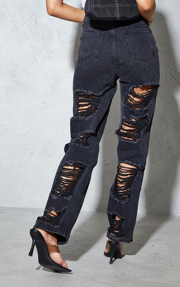 Petite Black Ripped Back Split Hem Jeans 3