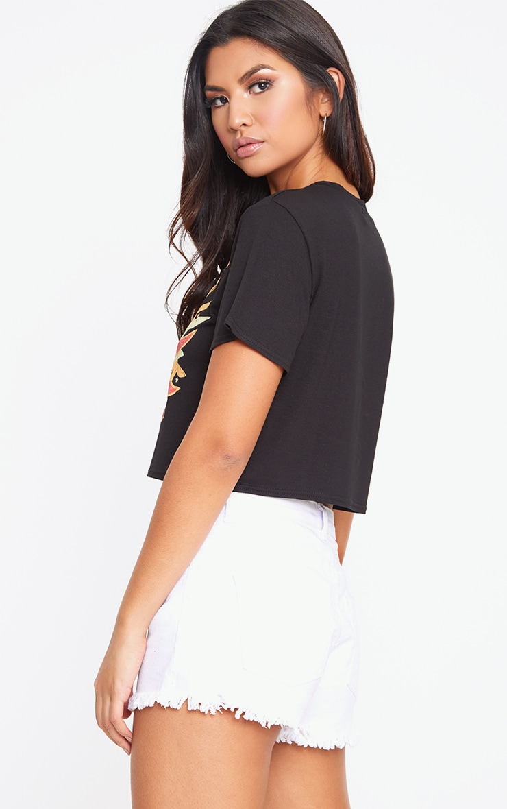 Black Sun Slogan Print Crop T Shirt 2