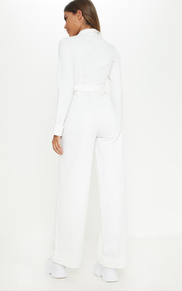 White Pocket Detail Wide Leg Utility Jumpsuit  2