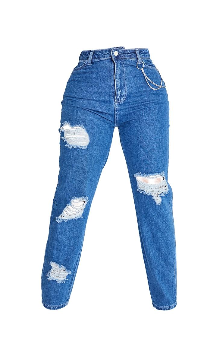 Shape Mid Blue Wash Chain Detail Ripped Bum Straight Leg Jeans 5