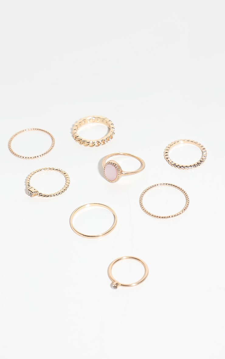 Gold Mixed Textured Ring 8 Pack 2