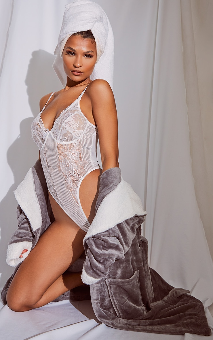 White Lace Insert High Leg Cupped Body 3