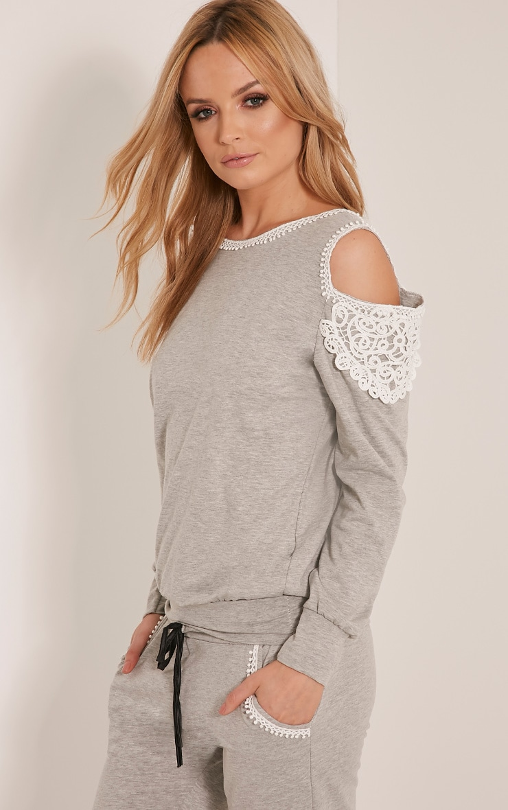Suzan Grey Lace Trim Tracksuit Sweatshirt 1
