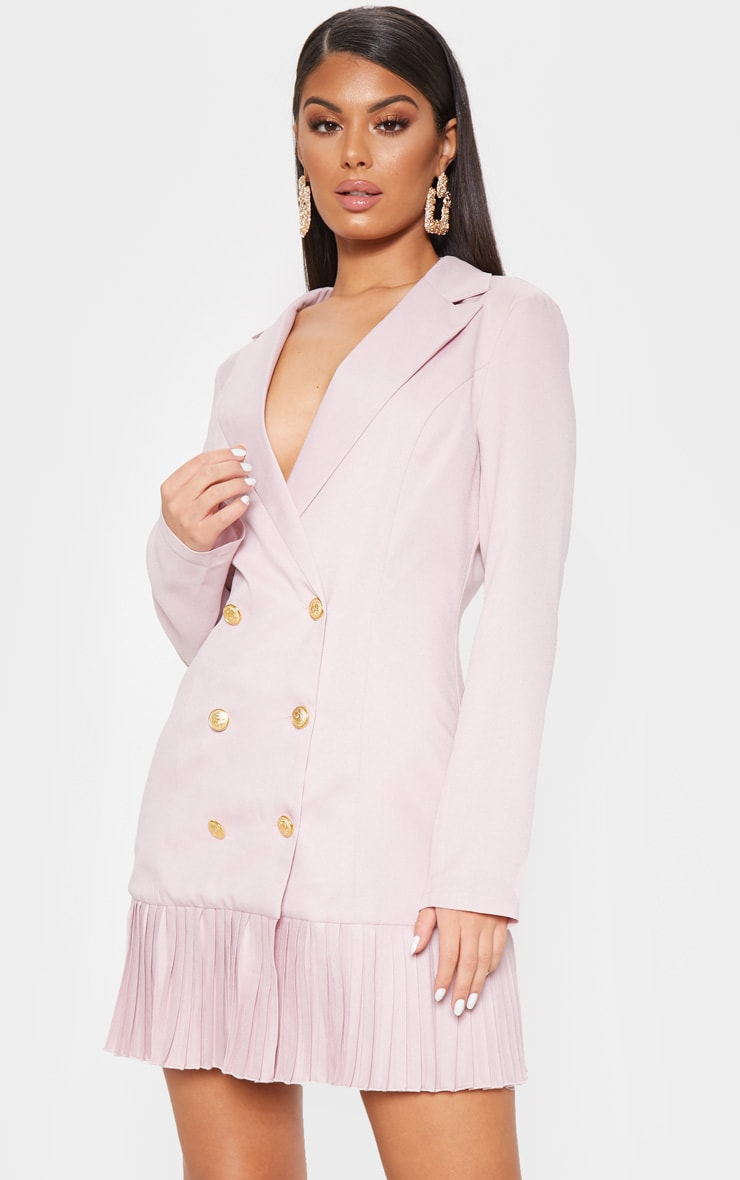Dusty Pink Pleated Hem Button Detail Blazer Dress 4