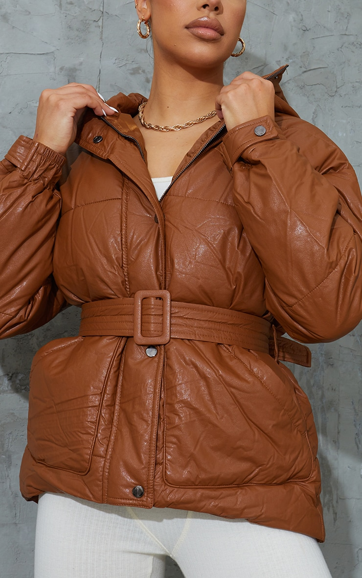 Tan Faux Leather Oversized Belted Hooded Puffer 4