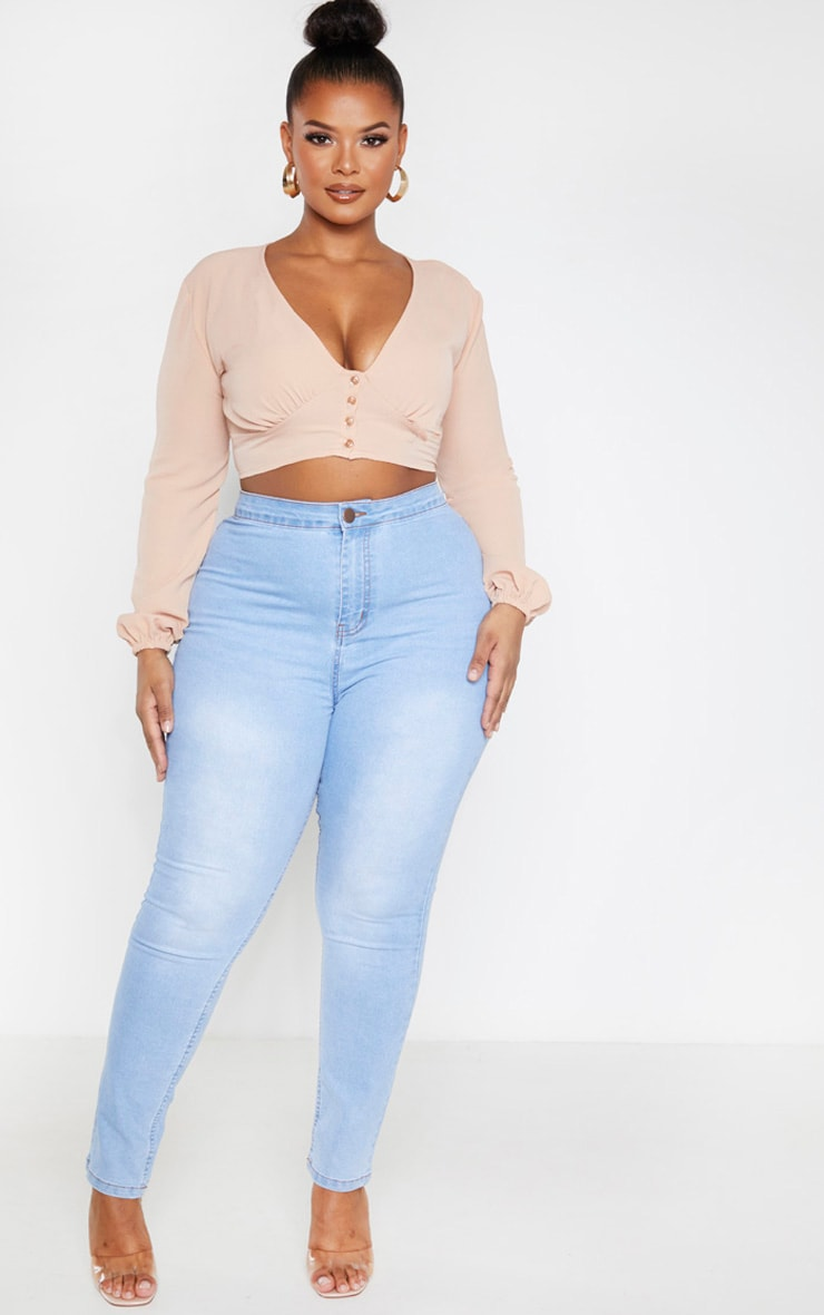 Plus Camel Button Front Crop Top  4