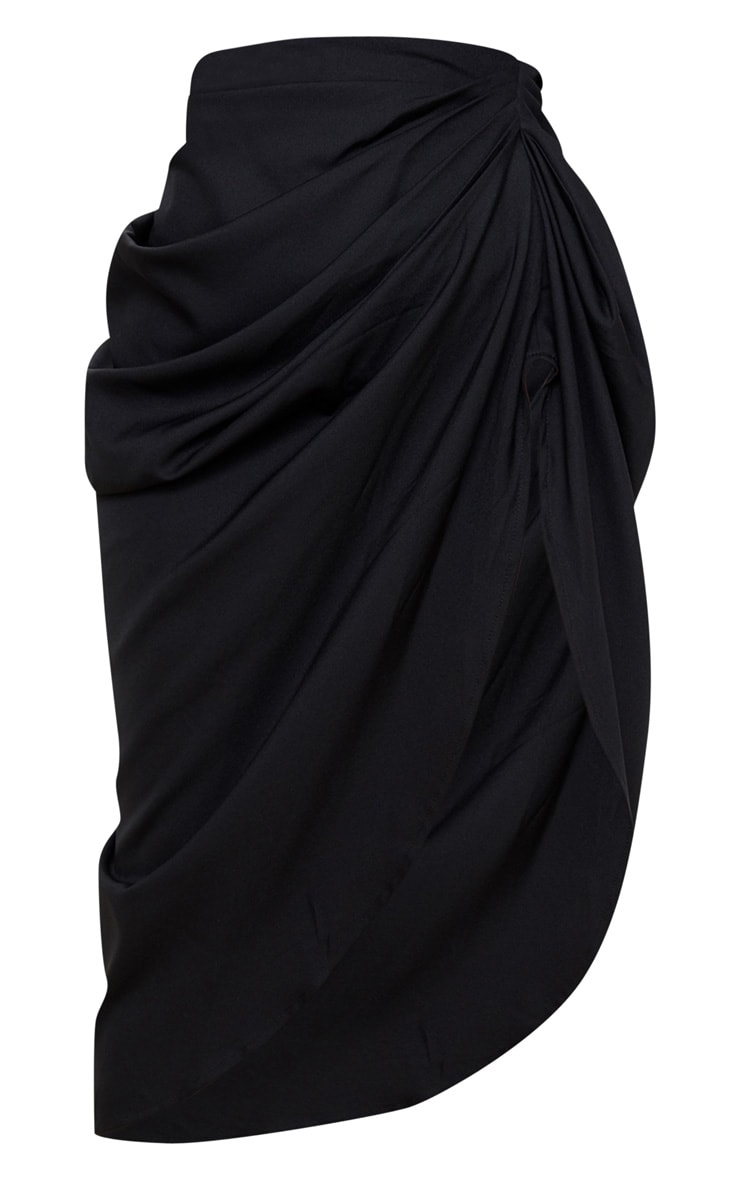 Petite Black Ruched Side Midi Skirt 3