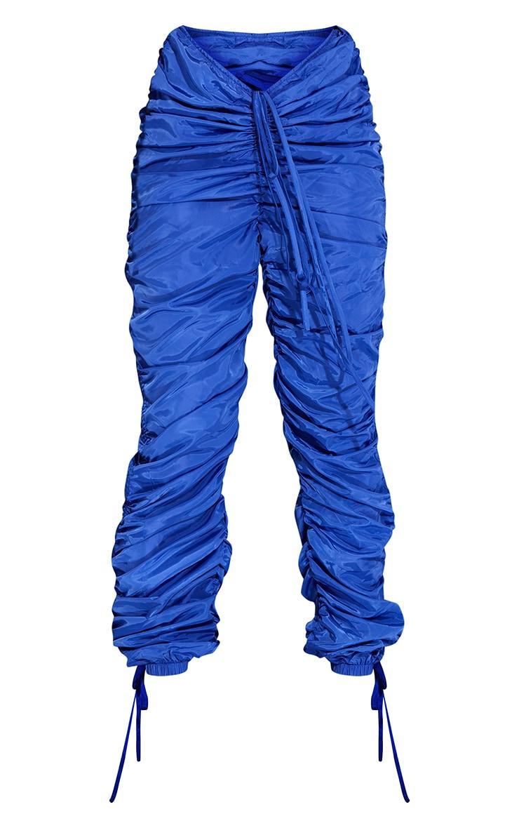 Pantalon bleu cobalt à jambes froncées et ourlet pointu 5
