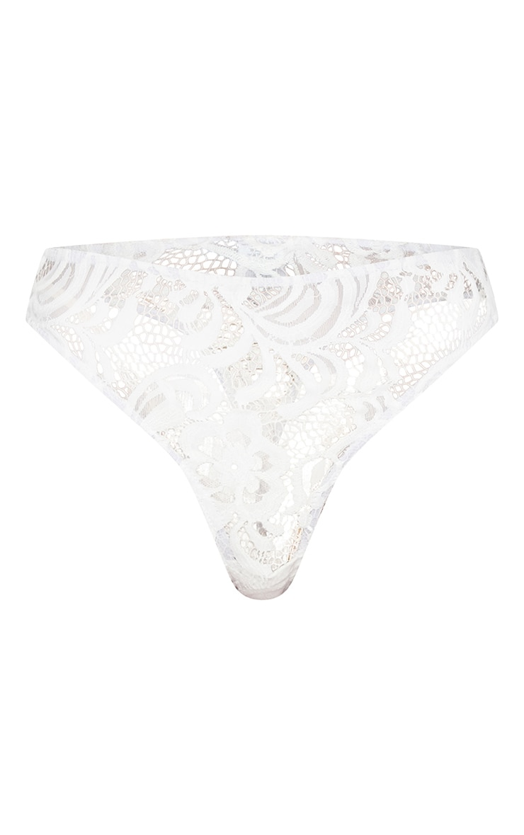 White Floral Lace Elastic Trim High Waisted Thong 3