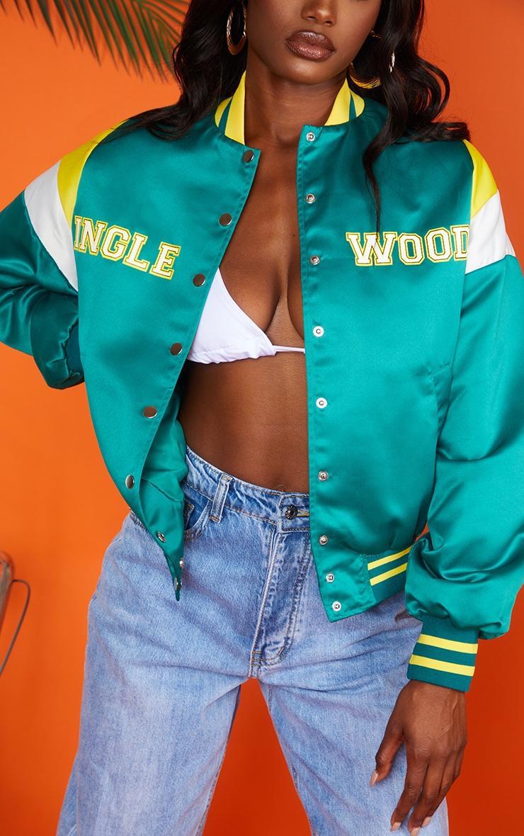 Green Oversized Inglewood Bomber Jacket 4