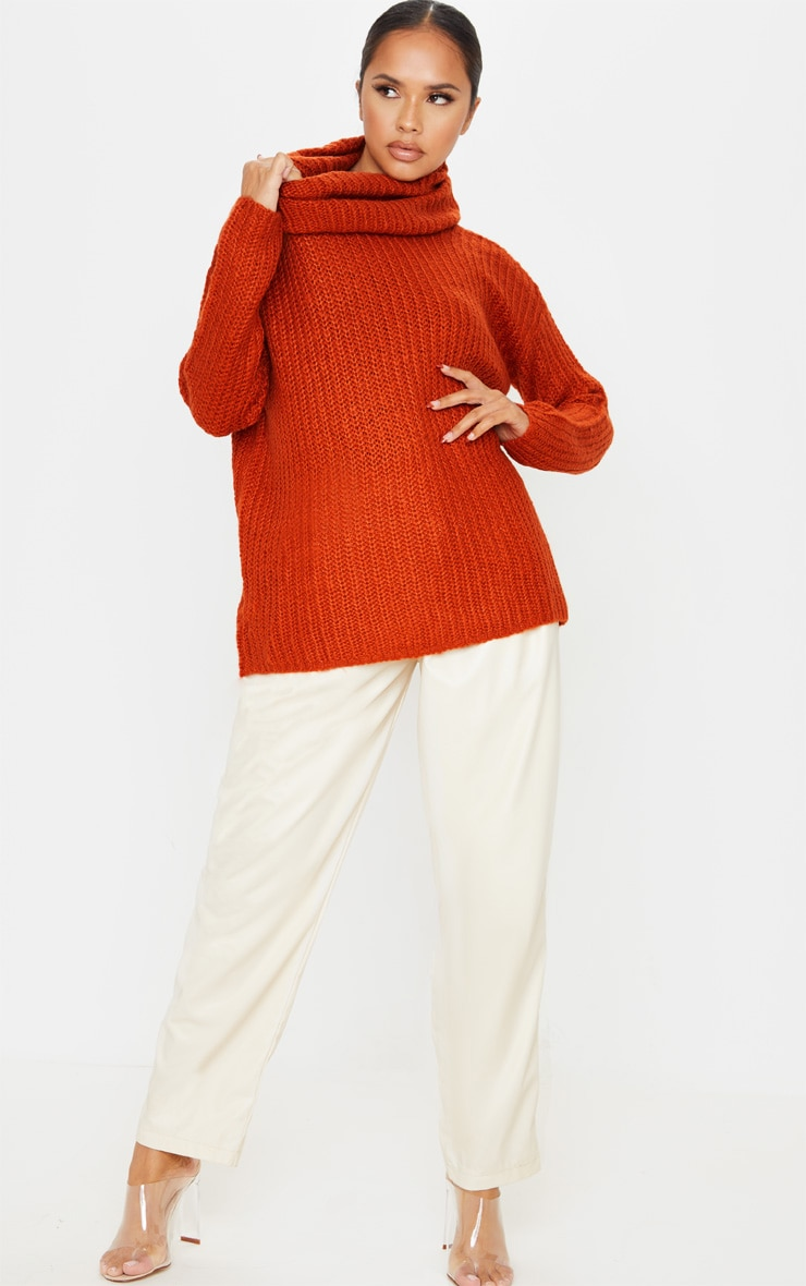 Rust Soft Knit Roll Neck Sweater 1