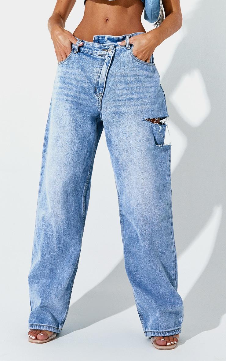 Light Blue Wash Baggy Low Rise Asymmetric Waistband Thigh Split Boyfriend Jean 2