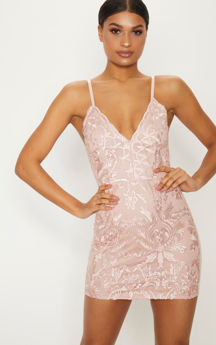 Dusty Pink Embroidered Lace Detail Plunge Bodycon Dress 1