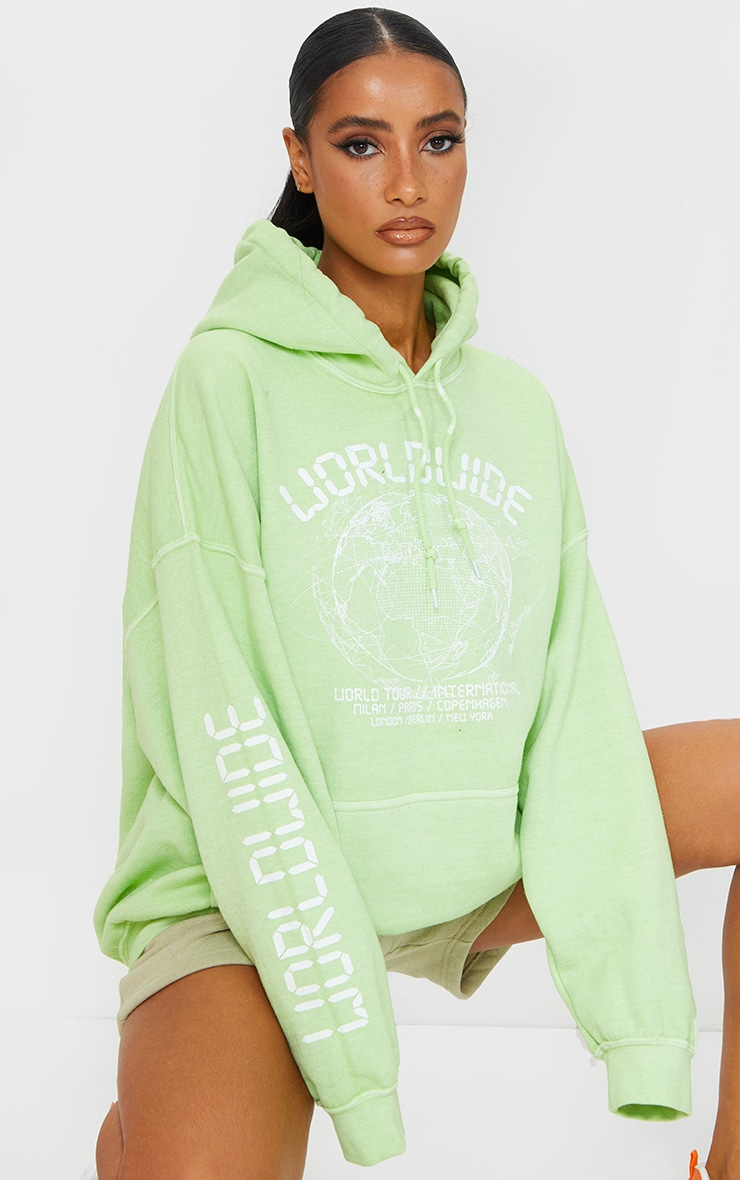 Lime Worldwide Slogan Oversized Hoodie 1