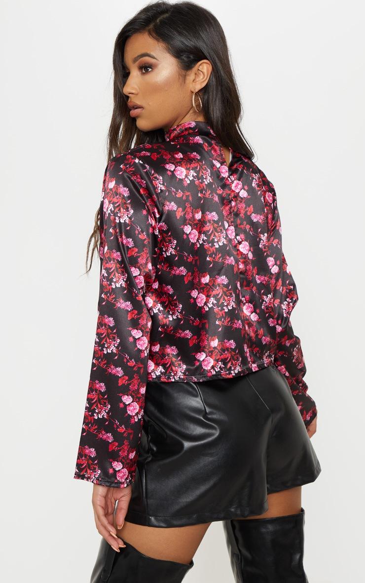 Black Floral Choker Plunge Twist Front Blouse 2