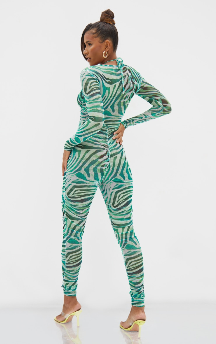 Green Abstract Print Mesh Tie Detail Jumpsuit 2