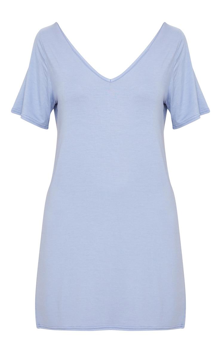Dusky Blue Basic V Neck T Shirt Dress 3
