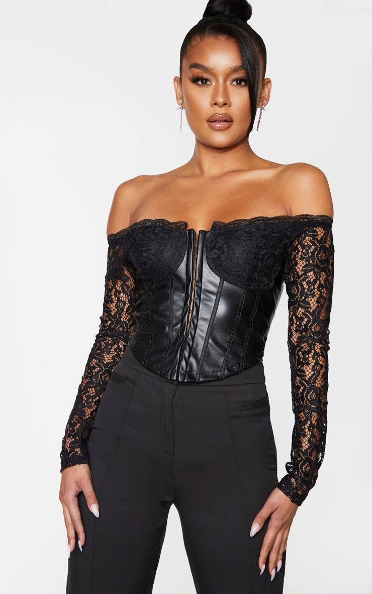Black Lace Bardot Long Sleeve PU Bodice Blouse 1