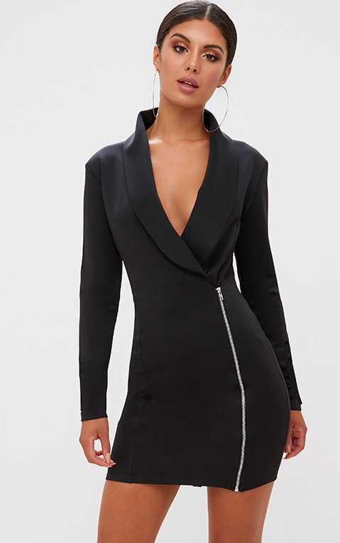 Black Zip Detail Blazer Dress 1