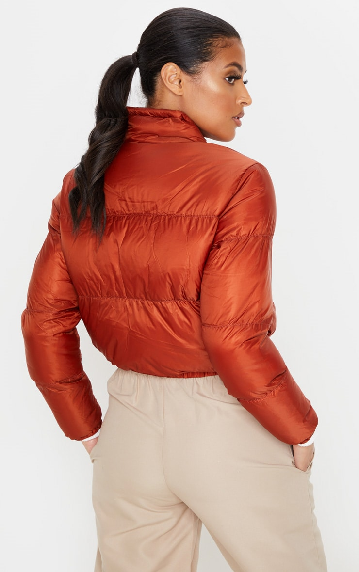 Rust Cropped Bubble Puffer Jacket 2