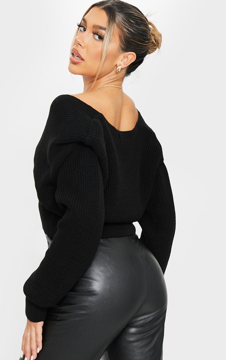Gilet court en maille tricot noir à épaulettes 2