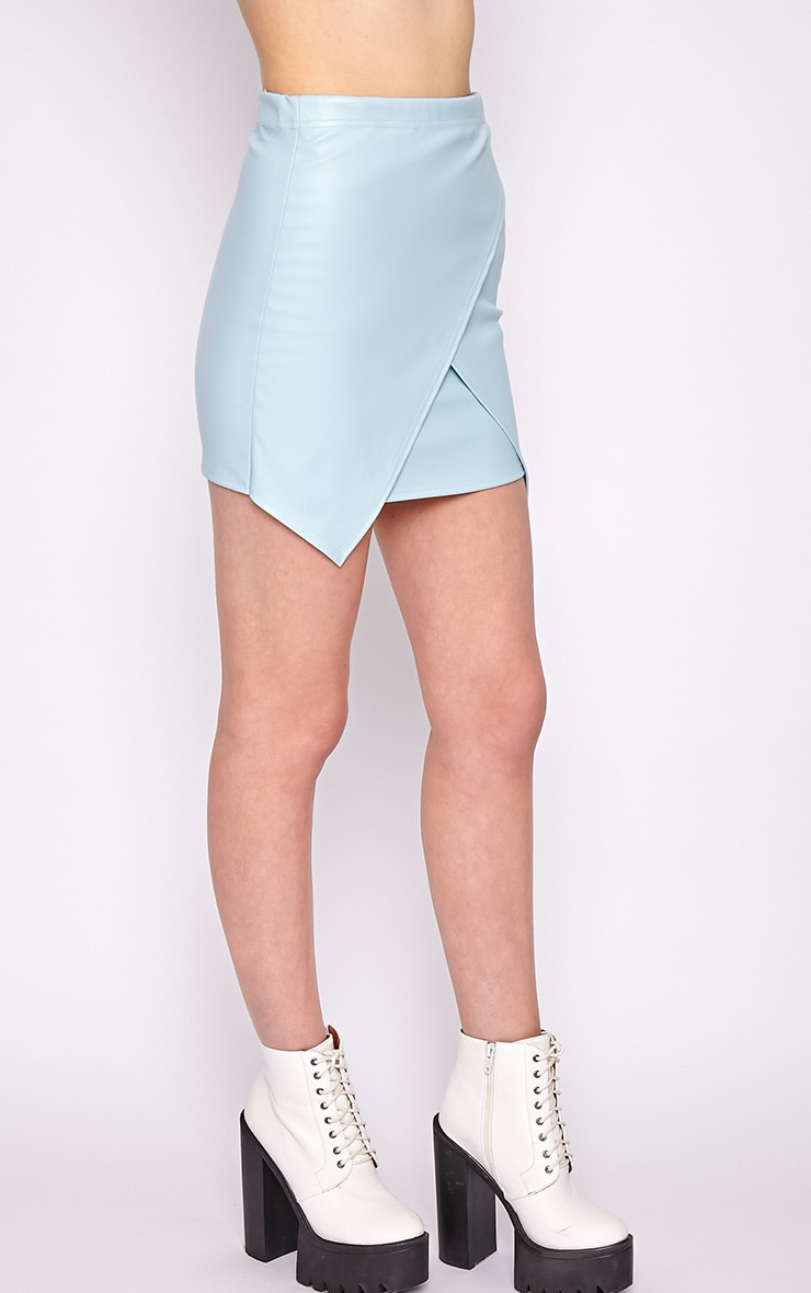 Valerie Blue Asymmetrical Leather Skirt 4