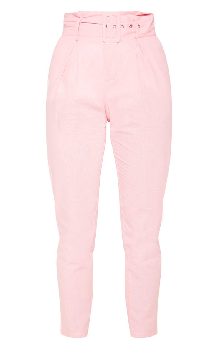 Pastel Pink Belted Paperbag Tapered Trouser 3