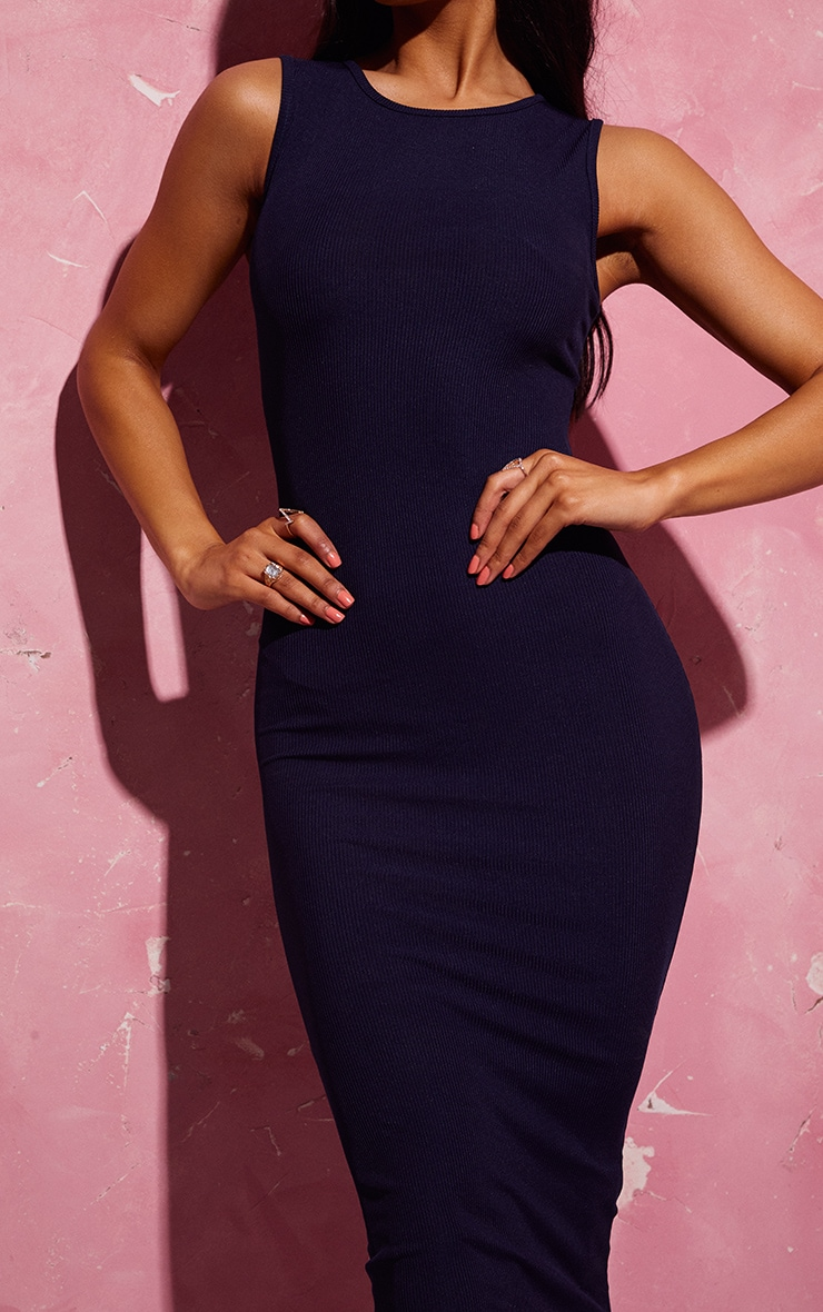 Navy Ribbed Midi Dress 5