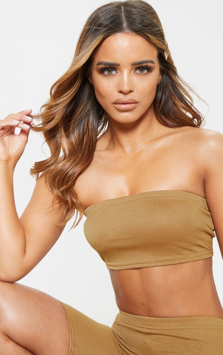 Petite Camel Stretch Crepe Bandeau Crop Top 4
