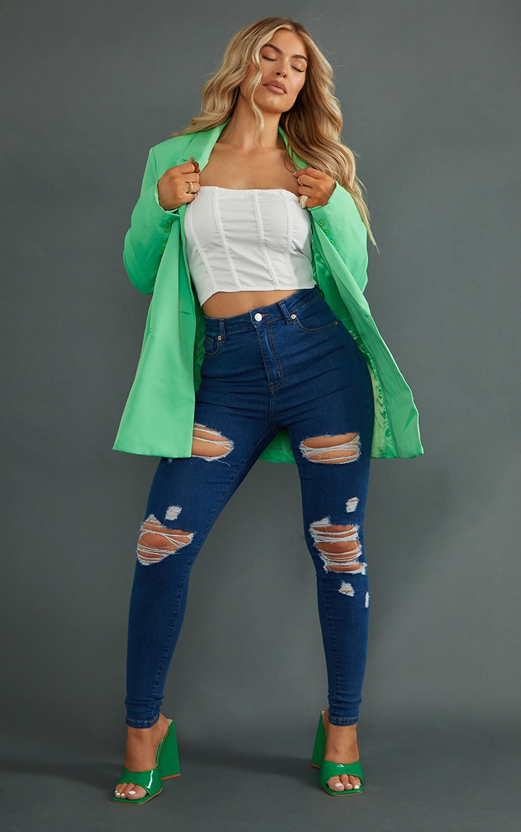 PRETTYLITTLETHING Mid Wash Ripped 5 Pocket Skinny Jeans 1