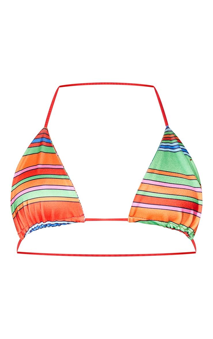 Red Striped Triangle Bikini Top 5
