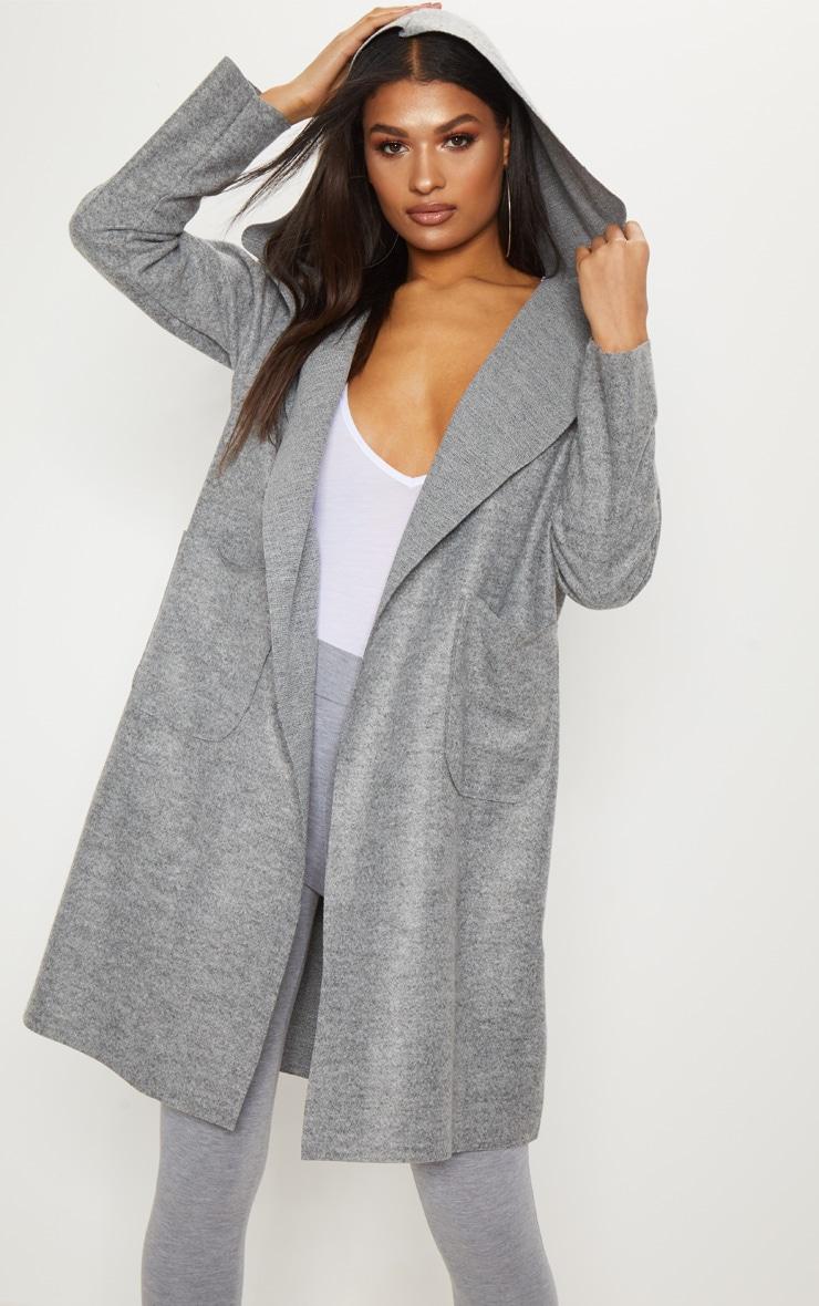 Grey Hooded Pocket Oversized Blazer  2