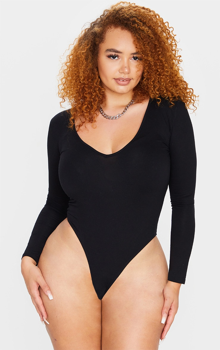 Plus Basic Black V Neck Long Sleeve Bodysuit 2