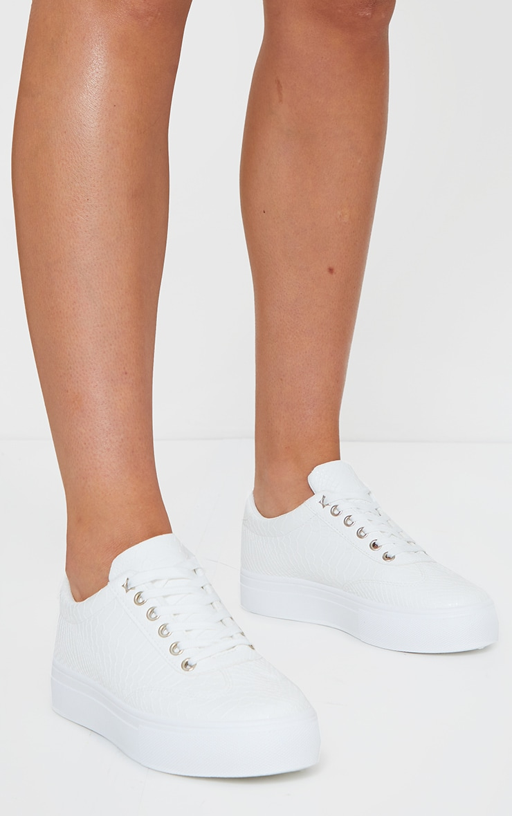 White Croc Lace Up Flatform Sneakers 1