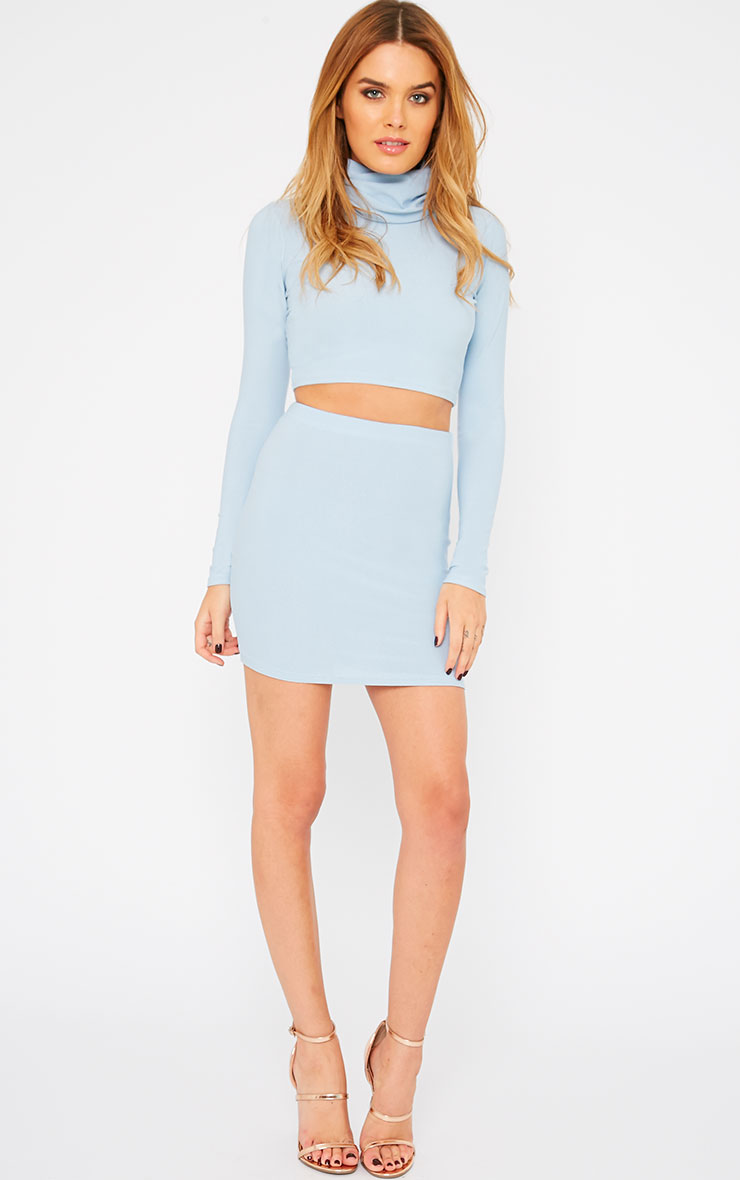 Emilia Powder Blue Crepe Roll Neck Crop Top  5