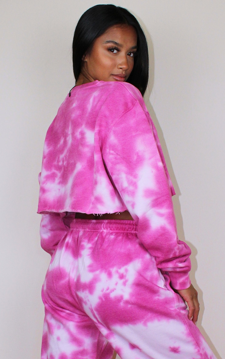 Petite Hot Pink Acid Wash Cropped Sweater 2