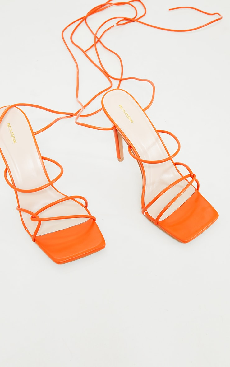 Orange Wide Fit Tube Strappy Laces Up High Heels 3