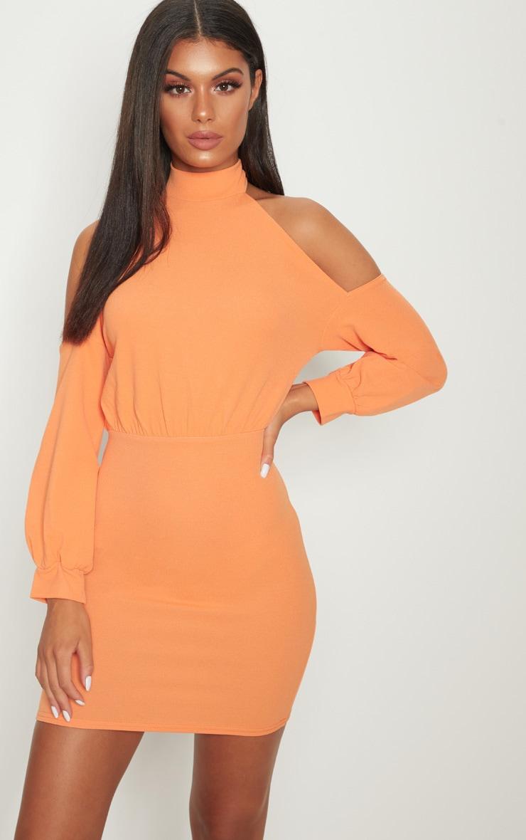 Tangerine High Neck Cold Shoulder Bodycon Dress 1