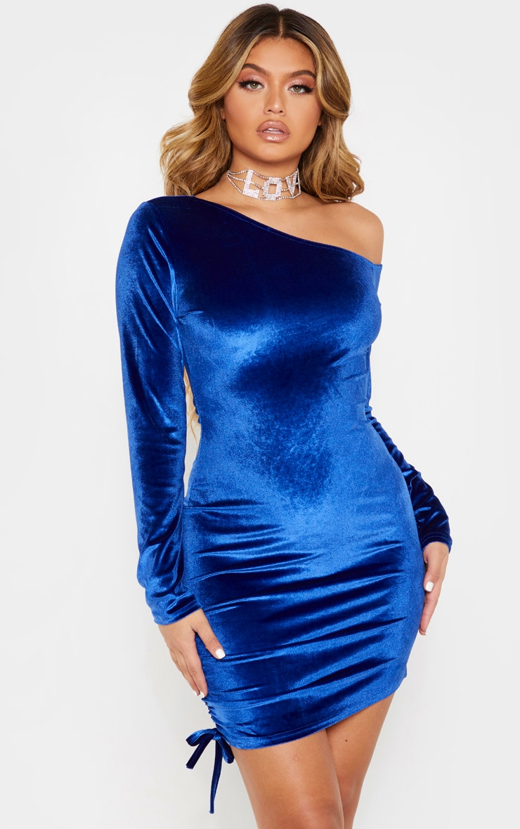 Cobalt Ruched Long Sleeve Bodycon Dress 1