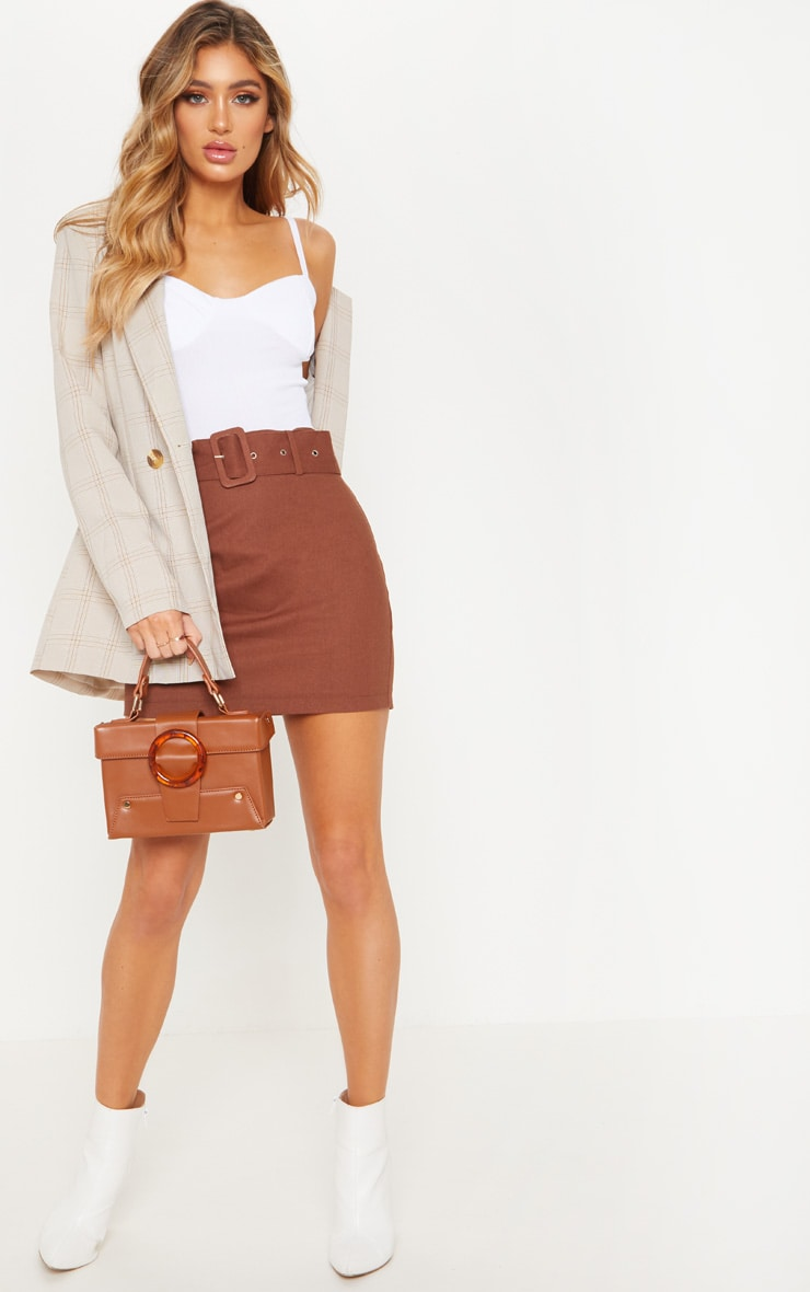 Chocolate Belted Cargo Mini Skirt 5