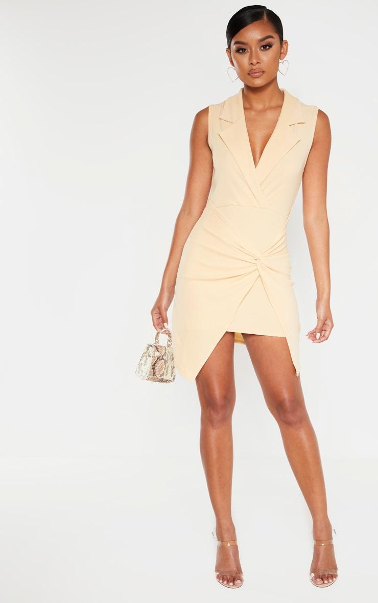 Fawn Sleeveless Twist Front Plunge Blazer Dress 1