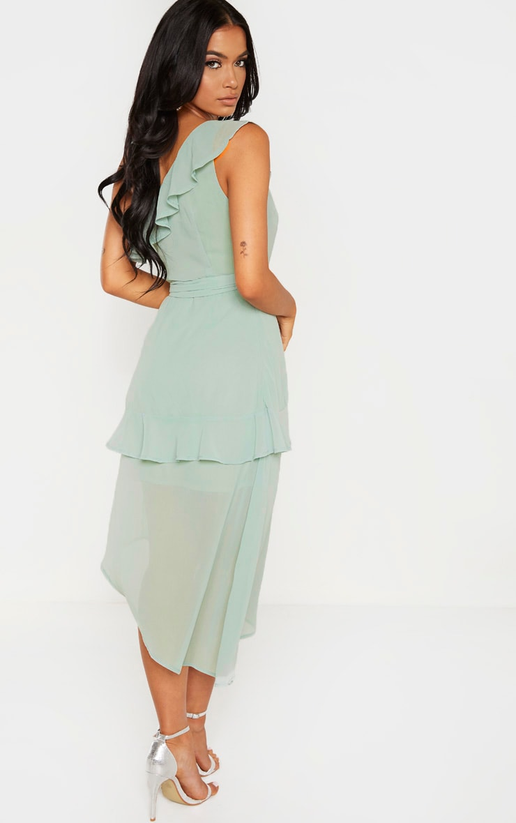 Sage Green Chiffon One Shoulder Midi Dress 2