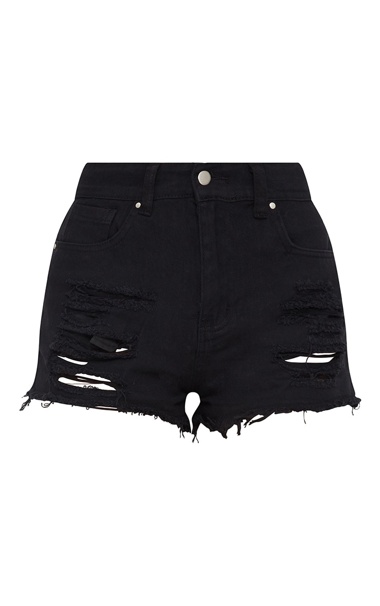 Black Bum Rip Denim Hot Pants 3