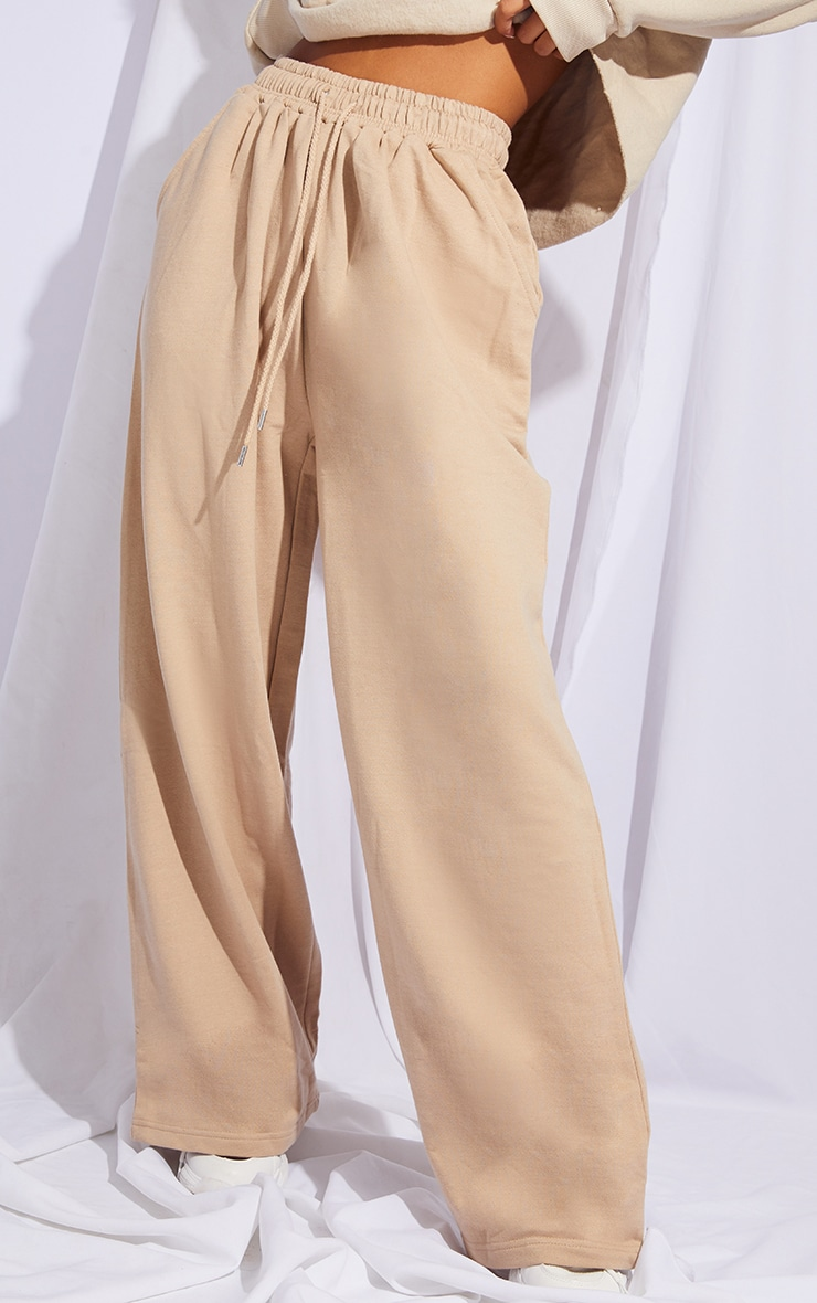 Stone Drawstring Slouch Wide Leg Trousers 2
