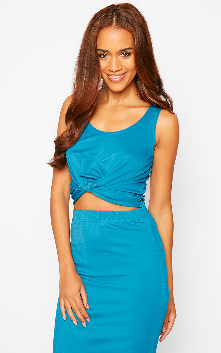 Zuri Turquoise Crepe Sleeveless Knot front Crop Top 4