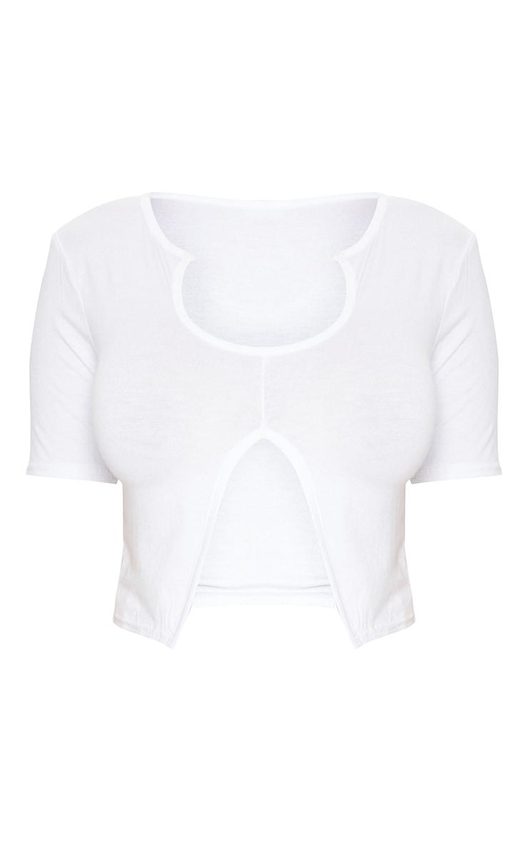 Shape White Jersey Short Sleeve Cut Out Crop Top 5