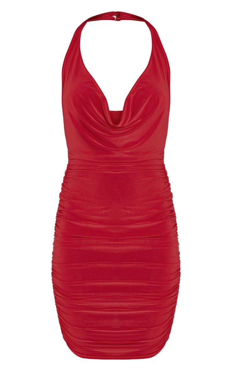 Haydan Red Slinky Cowl Neck Midi Dress 3