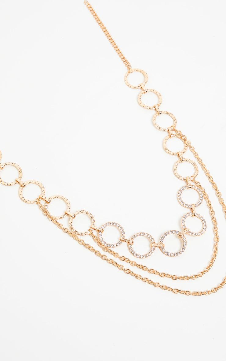 Gold Diamante Circles Chain Belt        2